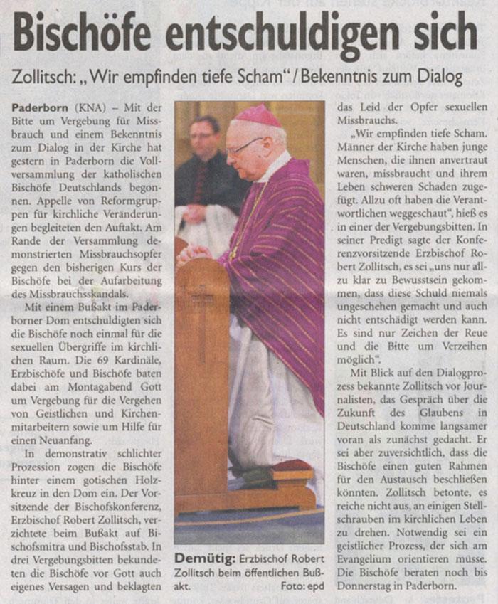 Bischöfe entschuldigen sich