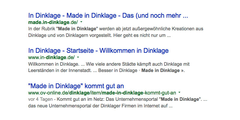 Google-Suche · Made in Dinklage