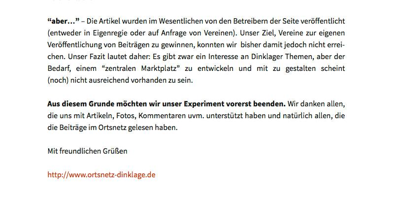 Ortsnetz Dinklage · Zitat aus Artikel vom 25. Sept. 2014