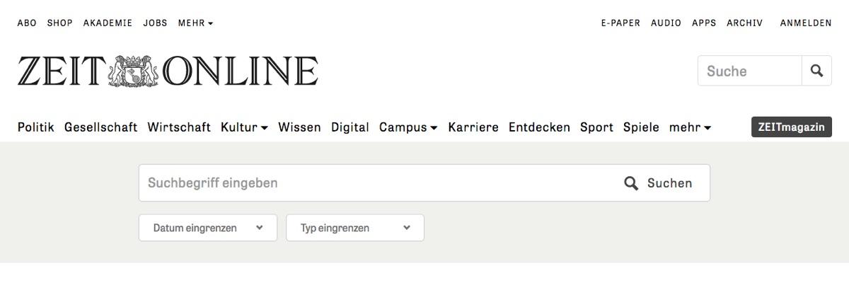 Suchfunktion · Zeit Online