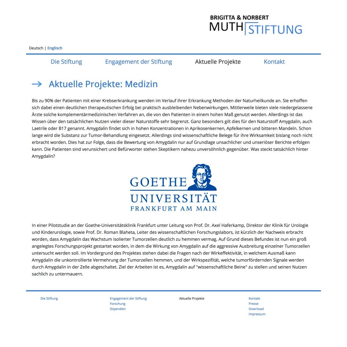 Bildschirmfoto: Homepage Muth-Stiftung 14. Mai 2017