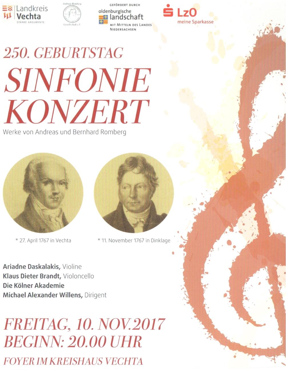 Plakat · Sinfoniekonzert am 10. November 2017 im Kreishaus Vechta