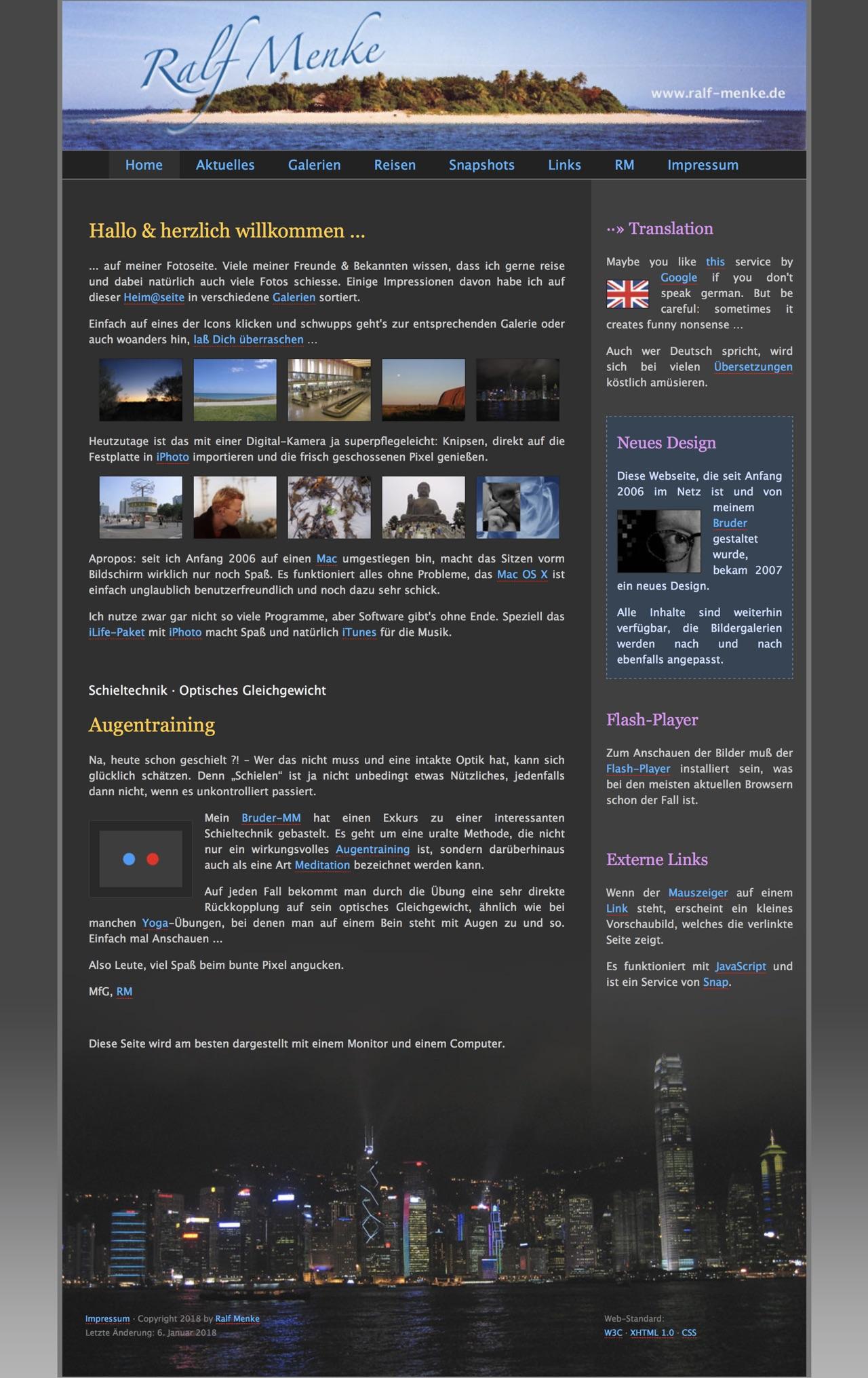 Ralf Menke · Alte Homepage · 18. Januar 2018