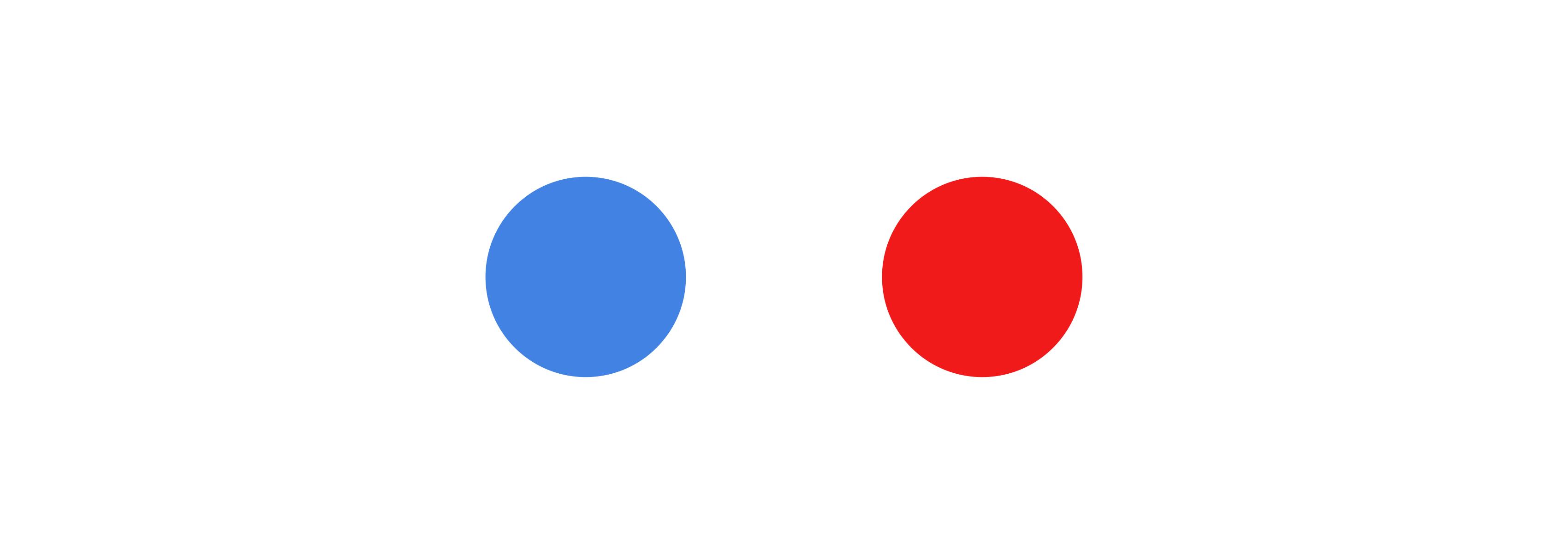 Zwei Kreise · Blau und Rot · Weißer Hintergrund
