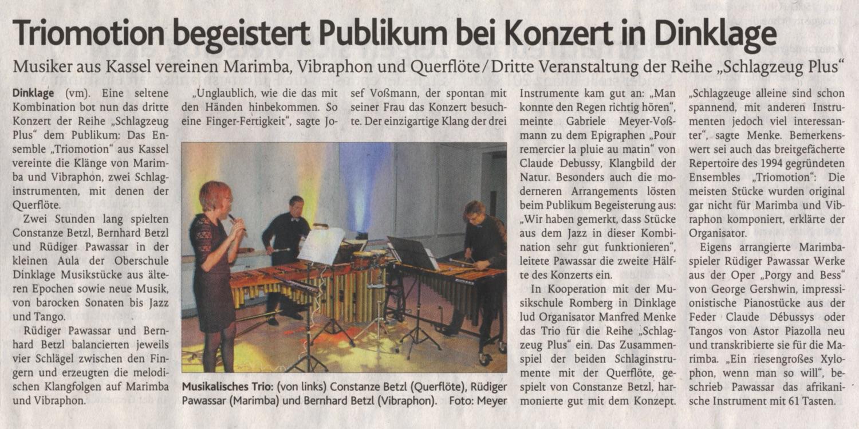 Triomotion begeistert Publikum · Oldenburgische Volkszeitung (1. März 2019)