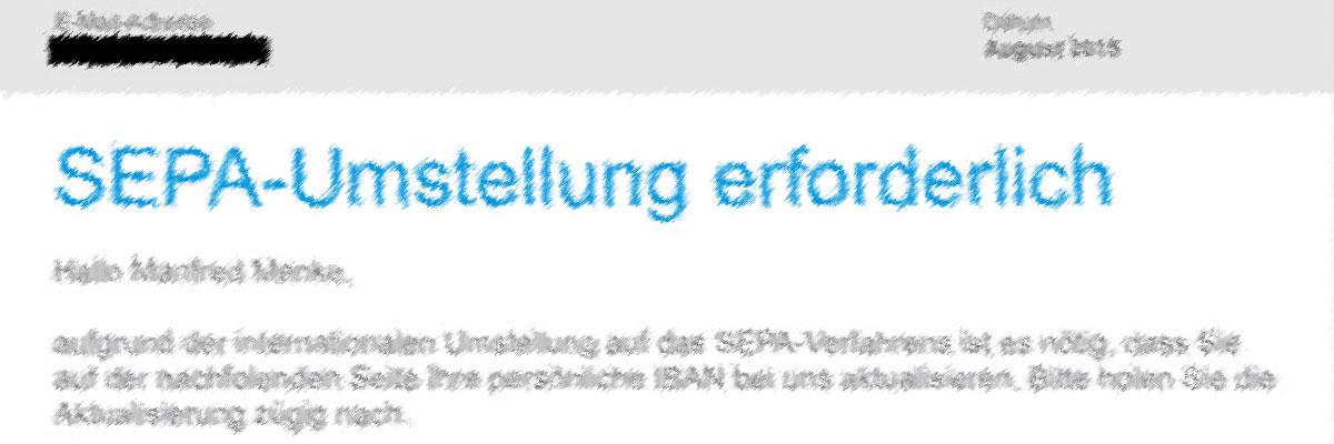"""""""SEPA-Umstellung erforderlich"""""""