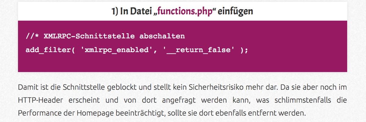 """""""XML-RPC""""-Schnittstelle deaktivieren"""